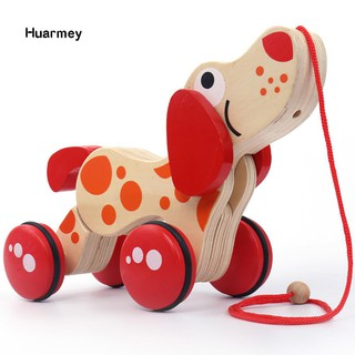 ★Hu Lovely Wooden Animal Pull Rope Cartoon Dog Puppy Drag Car Baby Children Toy Gift