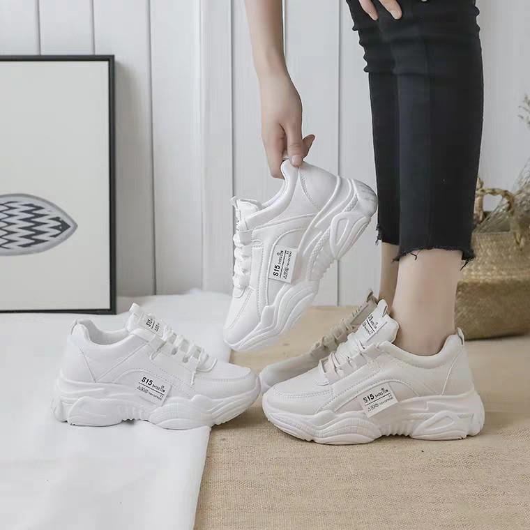 Giày thể thao nữ đế cao da đẹp S15 siêu hot , mới nhất 2020 HAPU (trắng, kem)
