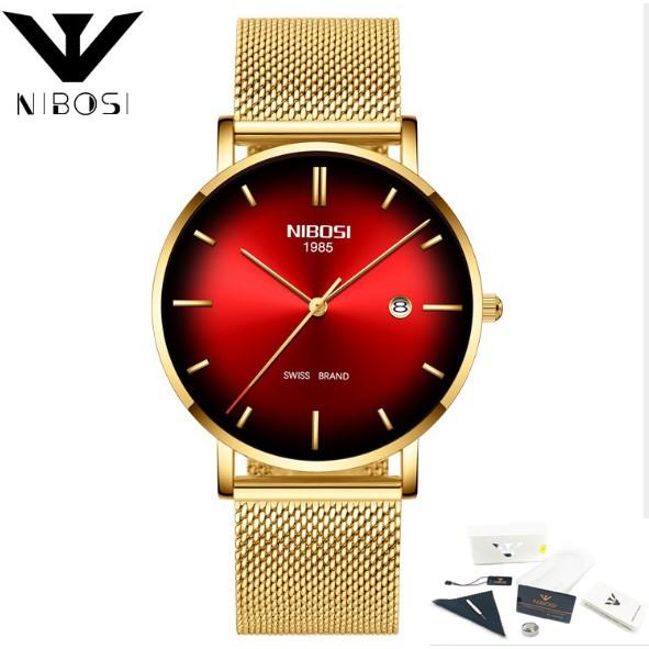 Đồng hồ nam dây lưới thép Nibosi 2362 fullbox