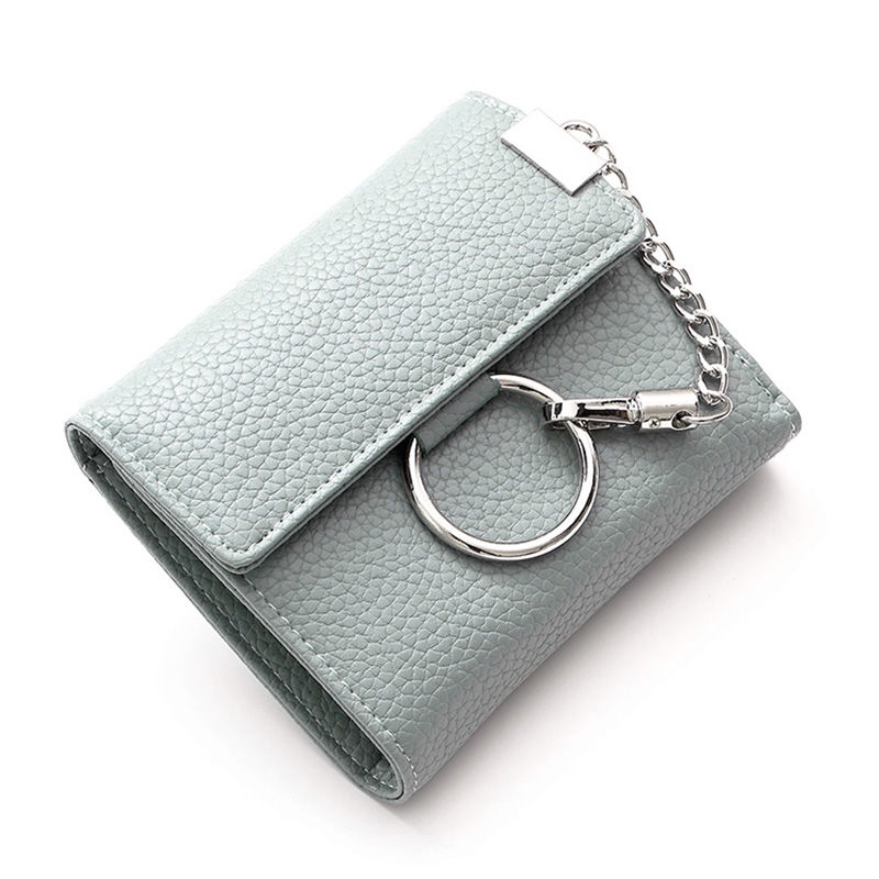 ♗Women's short small wallet Korean version of the student fashion round buckle chain three fold zero