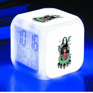 Đồng hồ báo thức để bàn in hình Spirited Away Vùng đất linh hồn anime chibi LED đổi màu