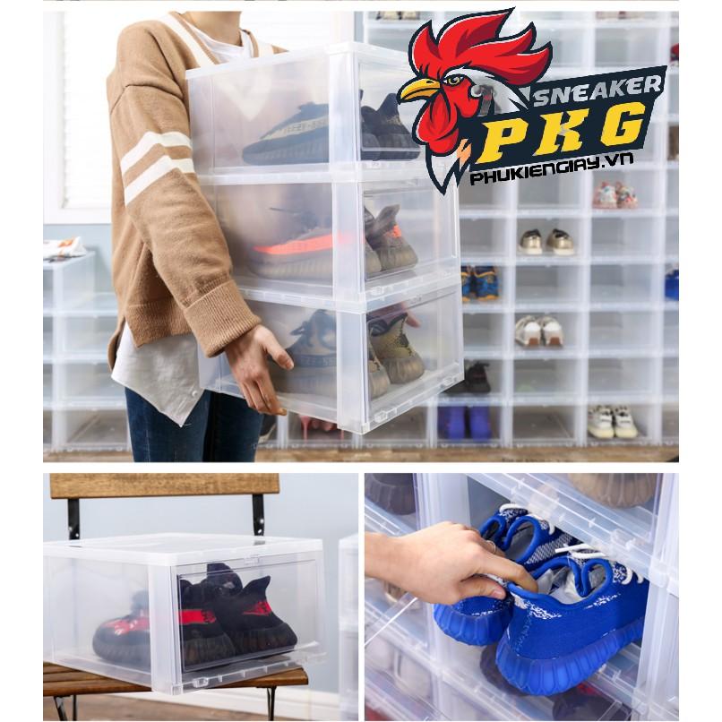 Hộp Box đựng giày nhựa cho Nam và Nữ nhựa cứng nguyên khối size to lớn 18cm đựng được jodan cổ cao