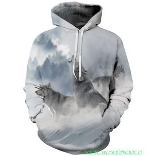 Áo Khoác Hoodie Sói Tuyết 3D