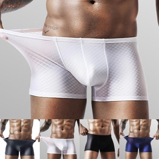 Mens Boxer Briefs Shorts Ice Silk Cool Seamless Breathable Underpants Underwear