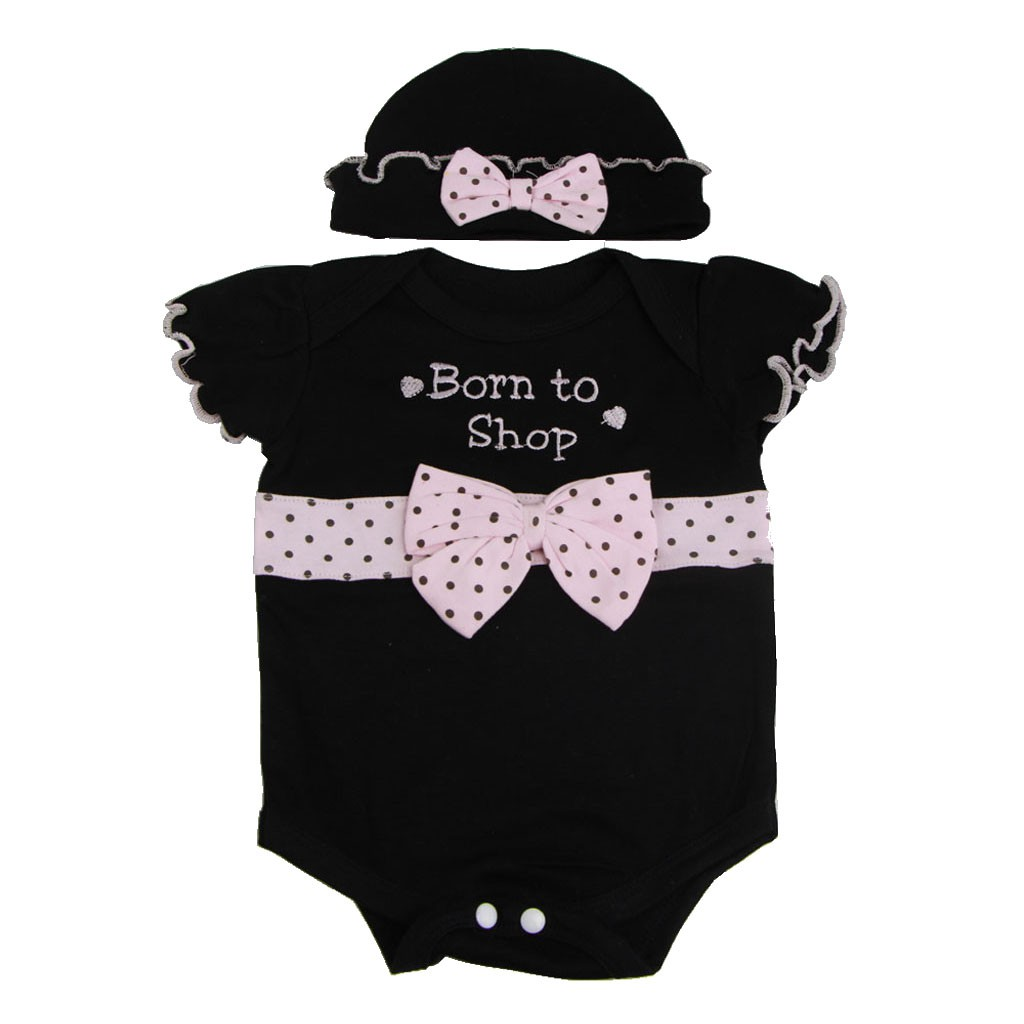 """Pink Bowknot Rompers Hat Suit Clothes for 22""""-23"""" Nebworn Baby Doll"""