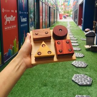 Tháp khối hình học cho bé đồ chơi thủ công bằng gỗ an toàn
