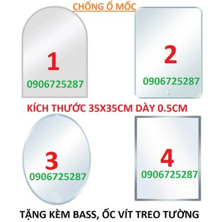 GƯƠNG SOI TREO TƯỜNG, NHÀ TẮM CHỐNG Ố MỐC 35X45 CM dày 0.5cm thumbnail