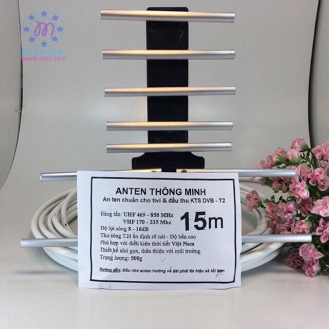 Anten thông minh cho tivi và đầu thu KTS DVB- T2 (kèm 15m dây và rắc nối)