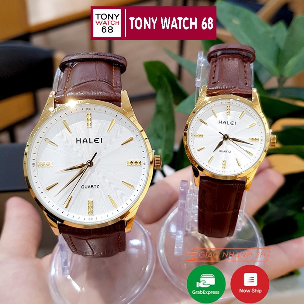 Đồng hồ cặp đôi nam nữ Halei viền vàng dây da siêu mỏng Tony Watch 68