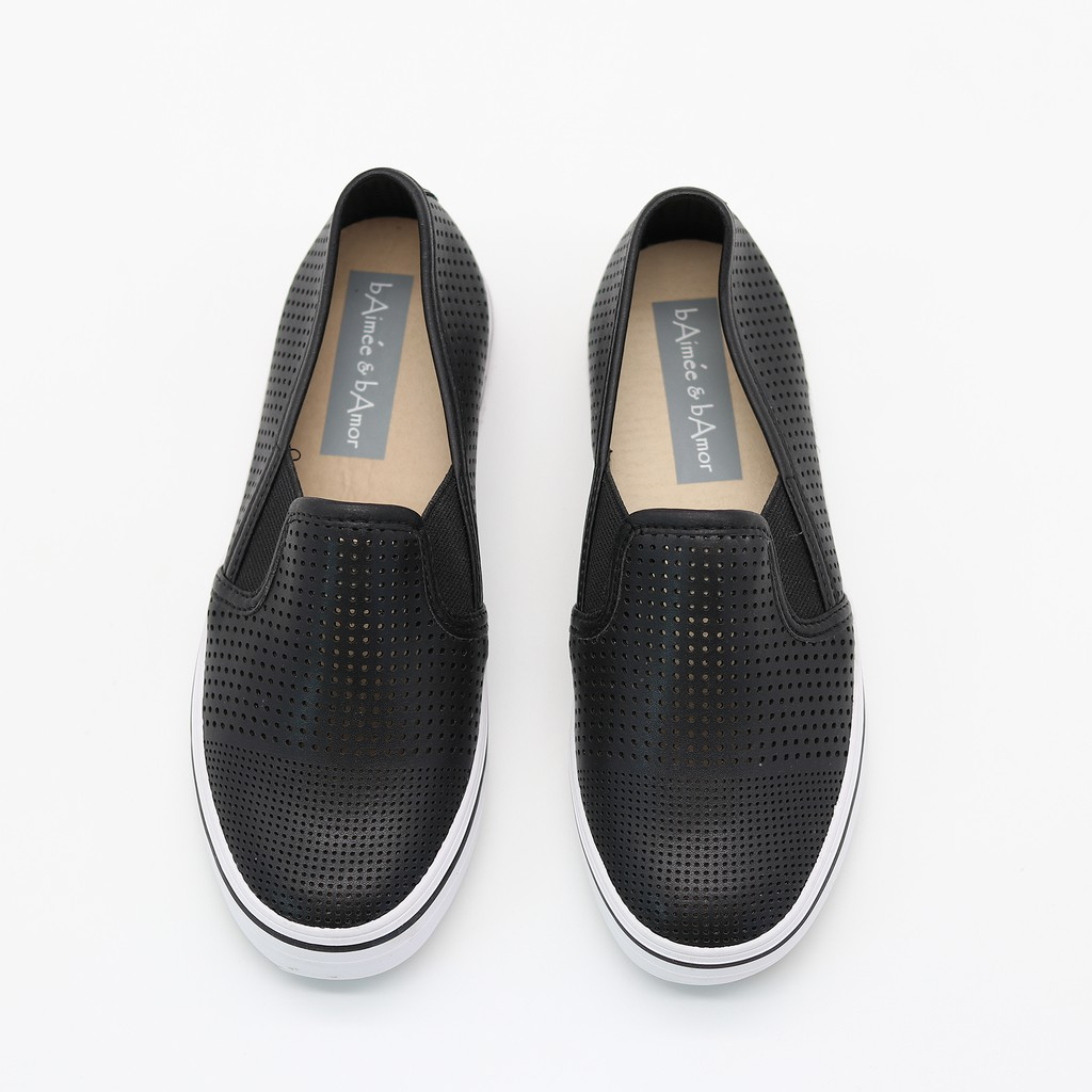 (Mã BABA975 Giảm Thêm 50%) Giày Lười Nữ Slip-on bAimée & bAmor Đế Bằng Viền Kẻ Dáng Loafer Culaze Thời Trang Công Sở 975