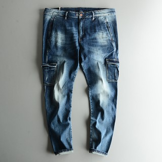 Spring and Autumn Men's Jeans Men's Slim Youth Korean Trend Pants Men's Autumn F
