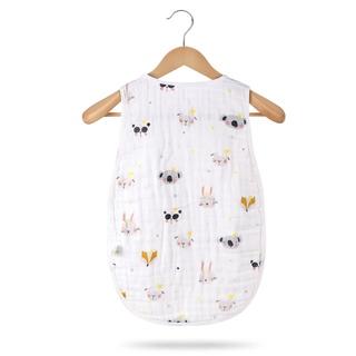 Baby Cotton Gạc túi ngủ mùa xuân và mùa hè không tay vest vest bé trước dày, bụng mỏng, đá, mùa hè