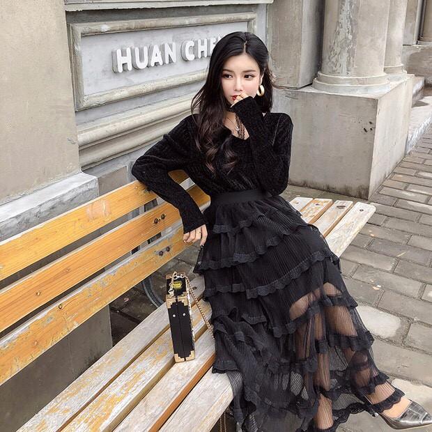 Set Đầm Ullzang Chân Váy Voan Xếp Tầng+Áo Tay Dài+Dây Choker Hàn Quốc Đầm Dài Maxi Midi Dự Tiệc VFSD3in111218