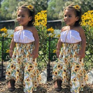 Mu♫-Baby Girl Solid White Elastic Crop Tops Sunflower Long Dress Pleated Skirts Outfits Clothes