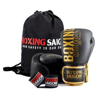 [Mã MASKFEB hoàn 15% đơn 99K tối đa 30K xu] Combo Găng Tay Boxing Saigon + Băng Tay 4m5 (tặng túi rút) – Đen vàng