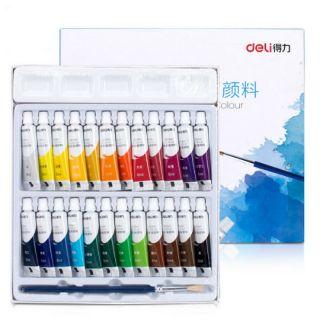 (Tặng kèm cọ nước) Hộp 24 màu nước hiệu Deli 5ml