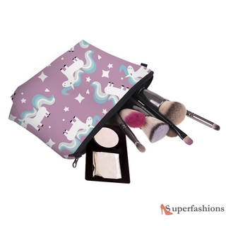 Multiple Horse Women Storage Bag Polyester Floral Printed Cosmetic Bag Tool