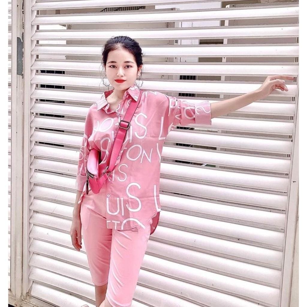 Đồ bộ nữ [FREESHIP] Set bộ quần ngố áo sơ mi LV04 hồng nữ tính phá cách