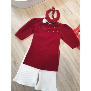 áo dài nhung đỏ đính đá bé gái chuẩn nhà dungkids