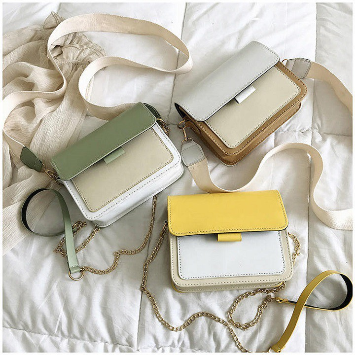Túi xách nữ phối màu vintage phong cách Hàn Quốc dây vải dây xích [T14]