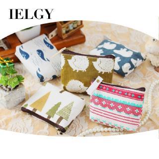 Ví đựng thẻ và tiền xu bằng vải cotton và vải lanh phong cách Hàn Quốc cổ điển thumbnail