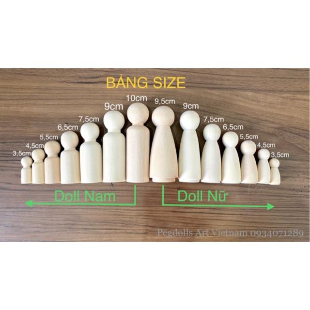 Búp bê gỗ ĐỦ SIZE 3,5cm ->10cm (sỉ, lẻ)