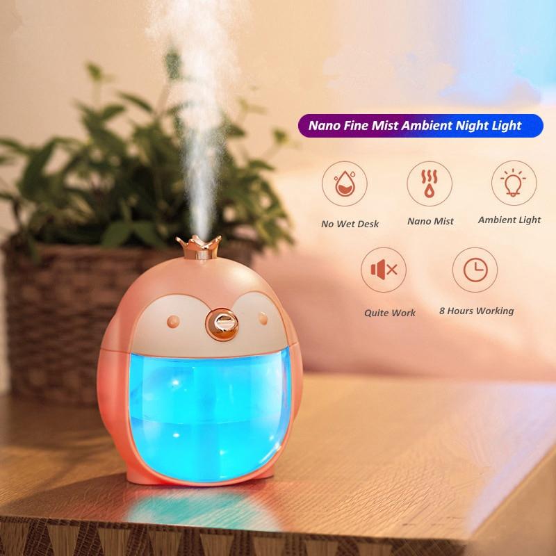 Portable Ultrasonic Humidifier Cute Penguin 300ml Air Usb Aroma Essential Oil Diffuser Night Lamp
