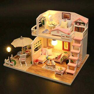Kèm mica – Mô hình nhà gỗ búp bê dollhouse DIY – M033 Pink Loft