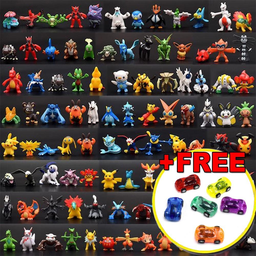 Bộ sưu tập 144 đồ chơi mô hình Pokemon Go Mega huyền thoại đa hệ nhiều màu cho bé nhập vai tặng kèm 5 xe ô tô mini nhựa