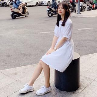 Đầm trắng rút eo siêu xinh