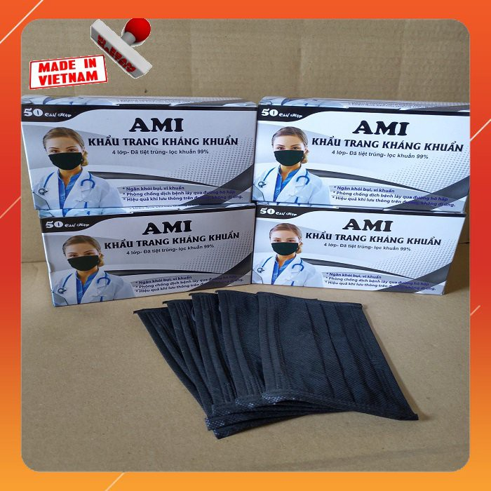 combo 4_Hộp khẩu trang y tế mầu Đen AMI 4 lớp (50 Chiếc / 1 Hộp)4đen | SaleOff247