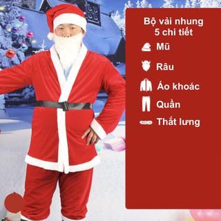 Bộ quần áo ông già Noel hay bộ trang phục noel người lớn vải nhung 5 chi tiết