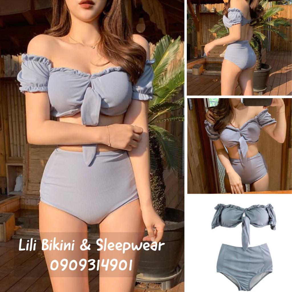 Bikini xanh pastel màu đẹp Hàn Quốc 2 mảnh, đồ bơi cột nơ ngực dễ thương tôn dáng che khuyết điểm