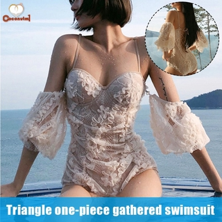 C Female's Retro V Neck Swimsuit High Waist with Steel Gather Pallets for Vacation