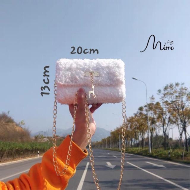Túi Handmade Tự Đan Nguyên Set Phụ Kiện Gồm Len Mịn, Cancas cắt sẵn, Dây Xích Chắc Chắn