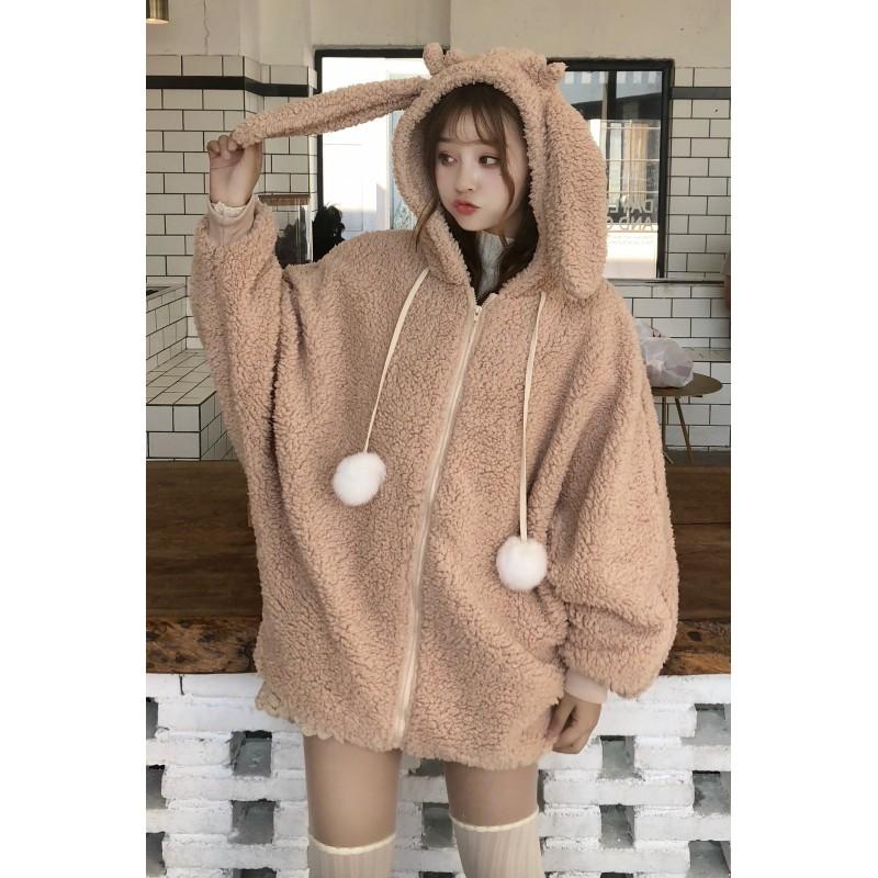 Áo Khoác Lông Cừu Tai Thỏ Hàn Quốc Dễ Thương