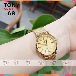 Đồng hồ đôi nam nữ QB dây lụa vàng sang chảnh chống nước chính hãng Tony Watch 68 thumbnail