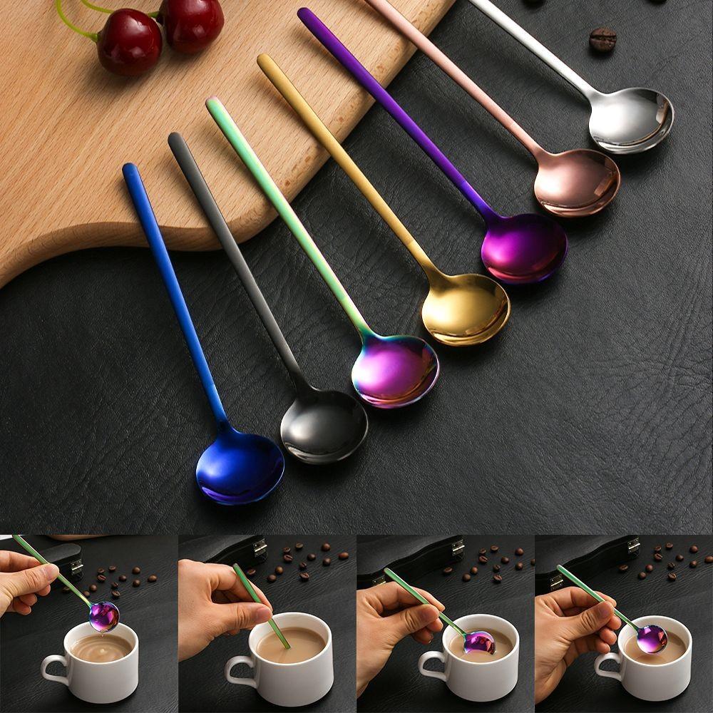 Thìa cà phê thiết kế sang trọng màu sắc cầu vồng chất liệu thép không gỉ chất lượng cao kích thước 13.3x3cm