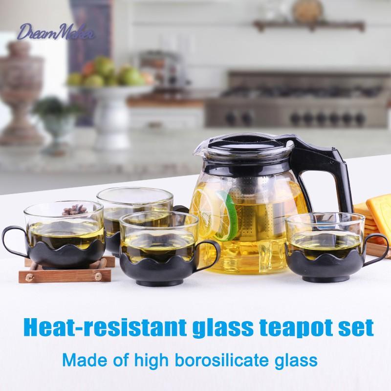 D❤ Heat-resistant Glass Teapot Set Stainless Steel Fliter Tea Kettle Tea Set
