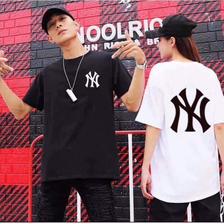 [ FULL SIZE ] Áo thun phông tay lỡ form rộng NY Unisex nam nữ |Áo đôi 2 màu đen trắng