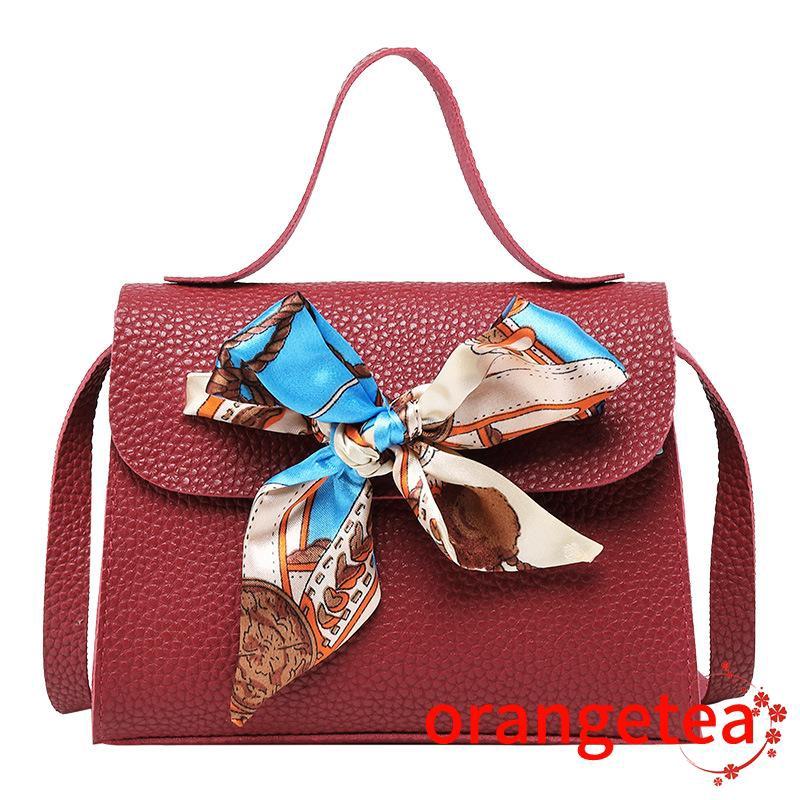 Túi đeo chéo bằng da thiết kế buộc khăn lạ mắt sang trọng cho nữ