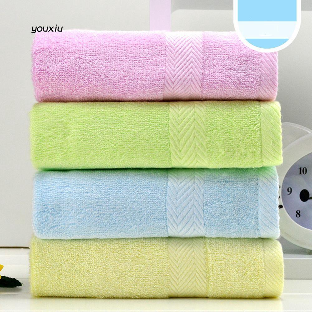 YOXU_Pure Color Bamboo Fiber Face Hand Bath Wipe Towel Infant Baby Soft Washcloth