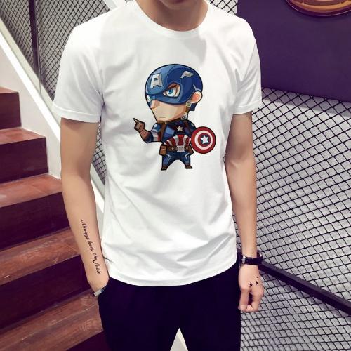 Áo thun trắng cổ tròn tay ngắn in họa tiết siêu anh hùng Avengers ngộ nghĩnh