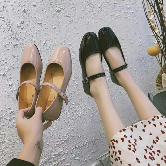(Tặng Khẩu Trang)Giày bệt mũi vuông da bóng siêu xinh