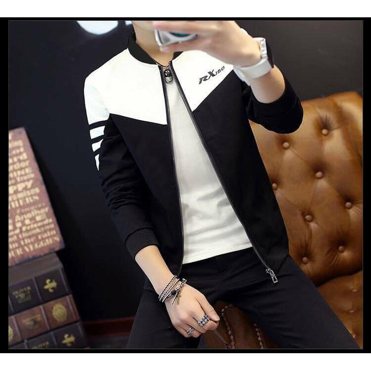 Áo khoác nam xuất khẩu vải dù cao cấp đen phối trắng dáng ôm cực đẹp AKD26 - Áo khoác nhẹ