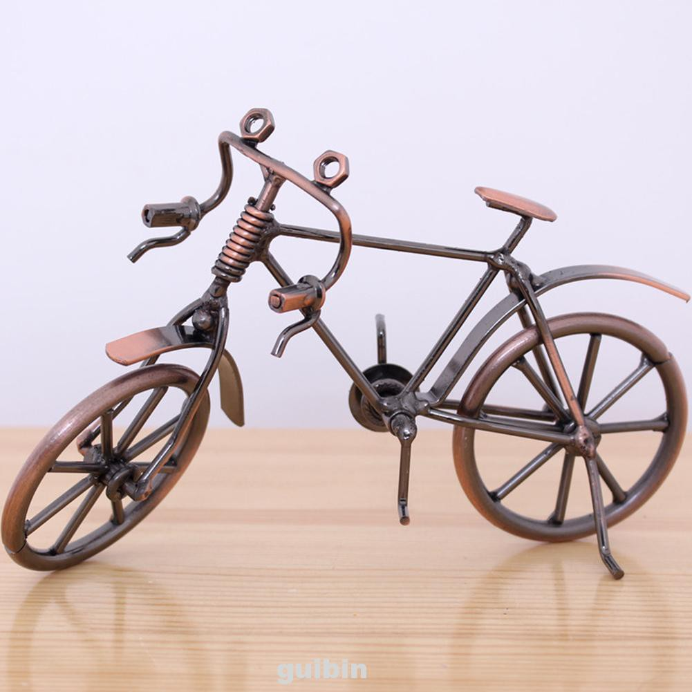 Kids Simulation Mini Office Collection Display Iron Art Retro Style Diecast Toys Bicycle Model