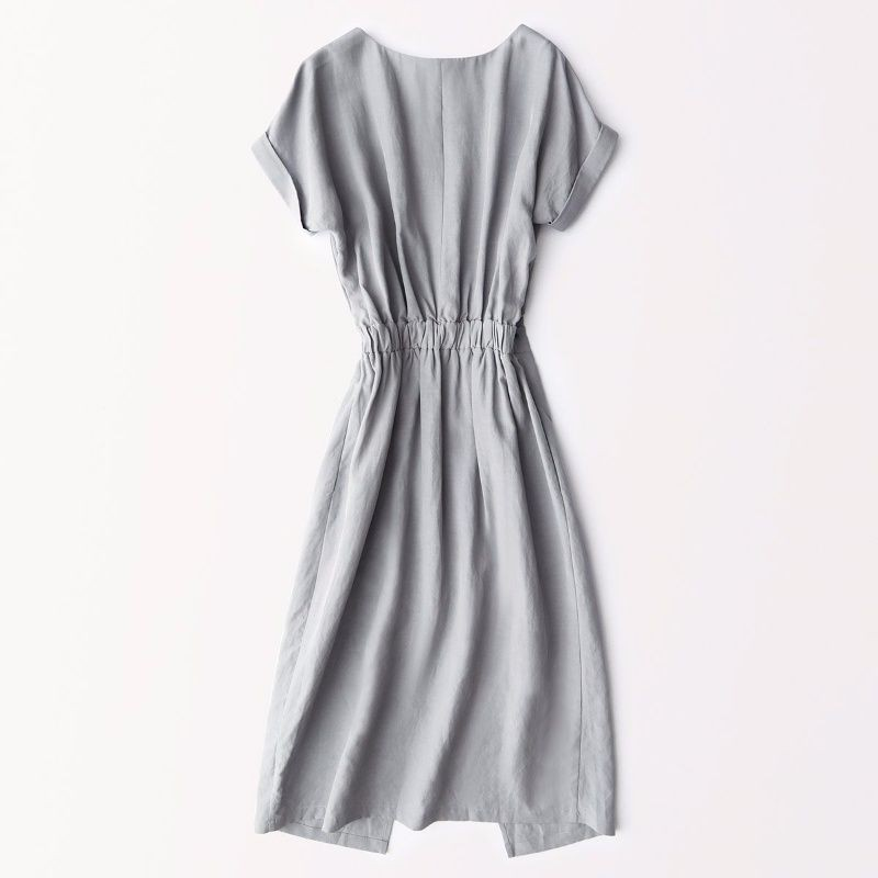□❇IHIMI in the summer of 2019 new women's comfortable split round collar short sleeve long dress show thin accept waist