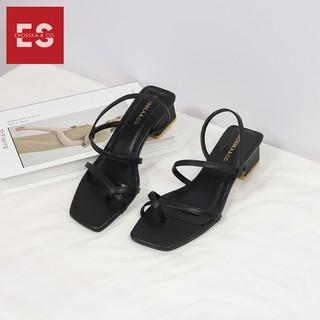 Hình ảnh Sandal nữ xỏ ngón dây mảnh thời trang Erosska cao 5cm màu kem_EB024-7