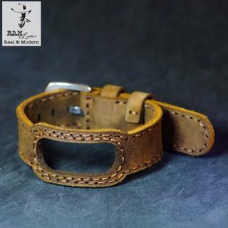 Dây da bò thật may tay cho miband 5 - da bò nâu đất - chính hãng RAM leather - mi band 5 brown cow leather straps thumbnail