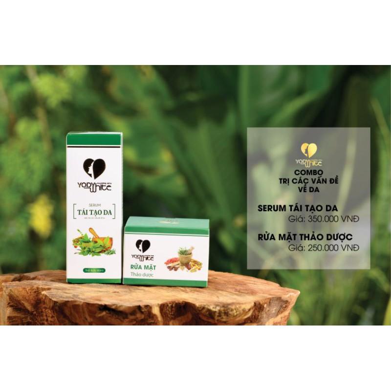 ⚡Combo Serum tái tạo da + Bột rửa mặt thảo dược Yody White Phương Anh làm sạch mụn nám tàn nhang 80ml